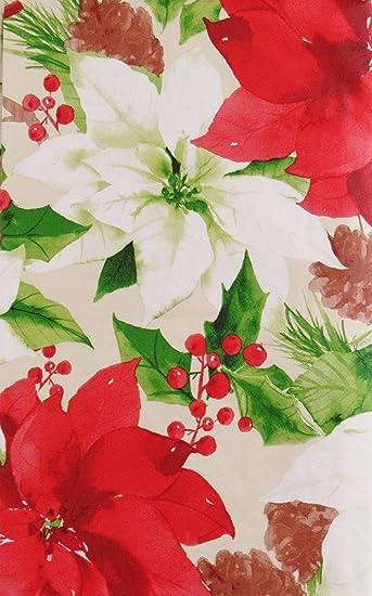 Amazon.com: Navidad Holly, flores de pascua y piñas Montage ...