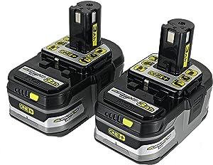 (2) Ryobi One+ 18v Lithium Plus HP Batteries 3Ah Li-Ion P191