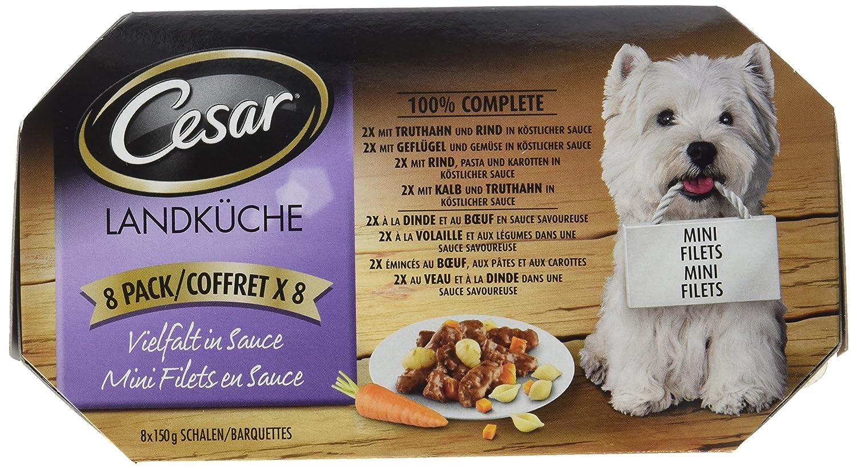 Cesar Hundefutter Landküche, 3er Pack (3 x 8 Schalen x 150g): Amazon ...