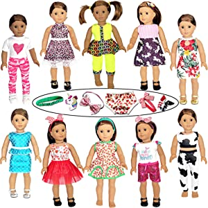 21 Pcs 18 inch Doll Clothes and Accessories fit American 18'' Girl Dolls - Including 10 Complete Set of American Doll Clothes Outfits with Unicorn Hair Clips, Hair Bands, Underwear