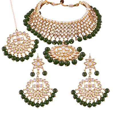 38dd4ab45 Buy I Jewels Traditional Kundan   Pearl Choker Necklace Set for Women  (K7058G) Online at Low Prices in India
