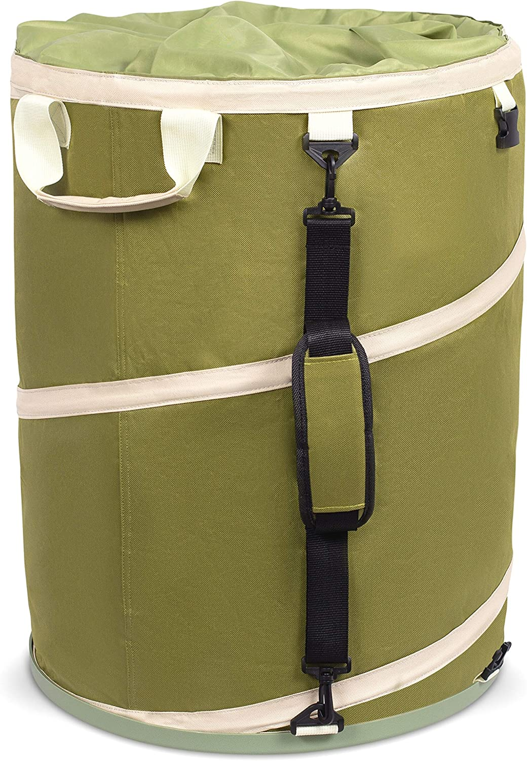 BirdRock Home 30 Gallon Collapsible Lawn and Leaf Bag - Hardshell Bottom - Green - Reusable Yard Can - Heavy Duty Drawstring Lid - Garage Storage - Outdoor Tote Basket - Handles - Gardening Container