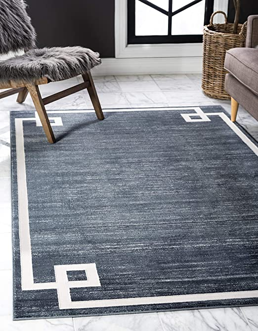 Unique Loom Uptown Collection by Jill Zarin Collection Greek Key Textured Modern Gray Runner Rug 2 x 6