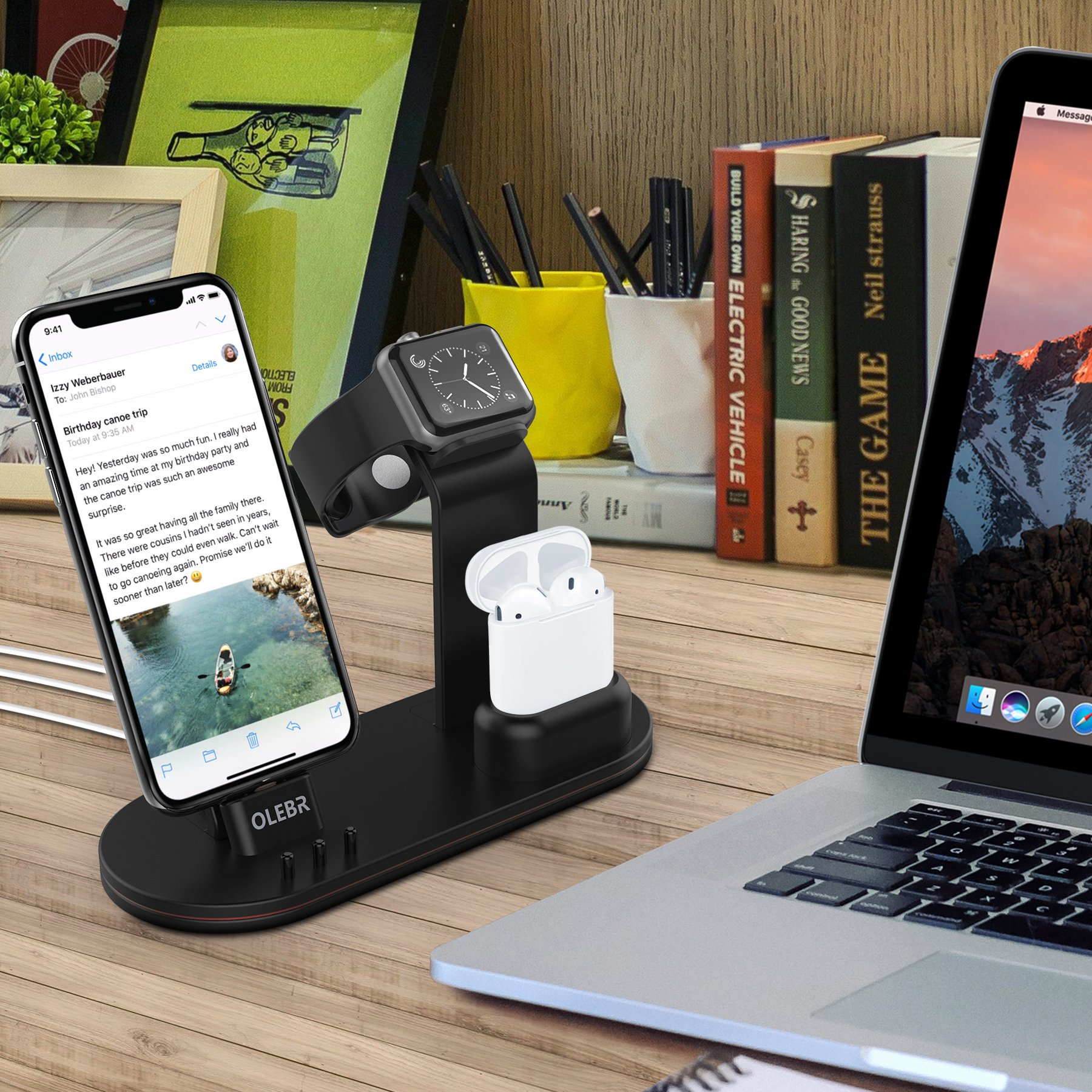 OLEBR Charging Stand for Apple Watch Aluminum Watch Charging Stand for AirPods, Apple Watch, Apple Watch Series 3/2/1/ AirPods/iPhone X/8/8Plus/7/7 Plus /6S /6S Plus/iPad by OLEBR (Image #2)