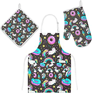 U-Life Kitchen Apron with Pocket Oven Mitt Glove Pot Holder Mat Set Unicorn Ice Cream Donut Rainbow