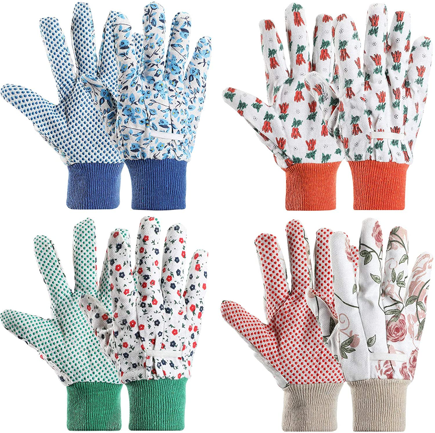 4 Pairs Garden Gloves Floral Gardening Gloves with Soft PVC Dots Gloves Women Working Yard Gloves for Yard Cleaning, Fishing, Gardening, Weeding, Planting, Watering