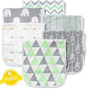 Baby Burp Cloths Set (6 Pack), Super Soft Cotton, Large 21 x10 , Thick, Soft and Absorbent Towels, Burping Rags for Newborns, Baby Shower Gift for Boys and Girls by BaeBae Goods