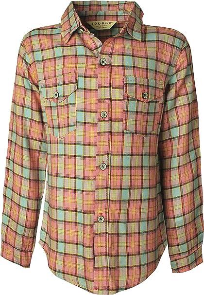 Ipuang Girls Long Sleeve Button Down Plaid Shirt