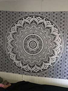 "Exclusive""Twin Grey Black Ombre Tapestry by JaipurHandloom"" Ombre Bedding, Mandala Tapestry, Dorm Decor Indian Mandala Wall Art Hippie Wall Hanging Bohemian Bedspread"