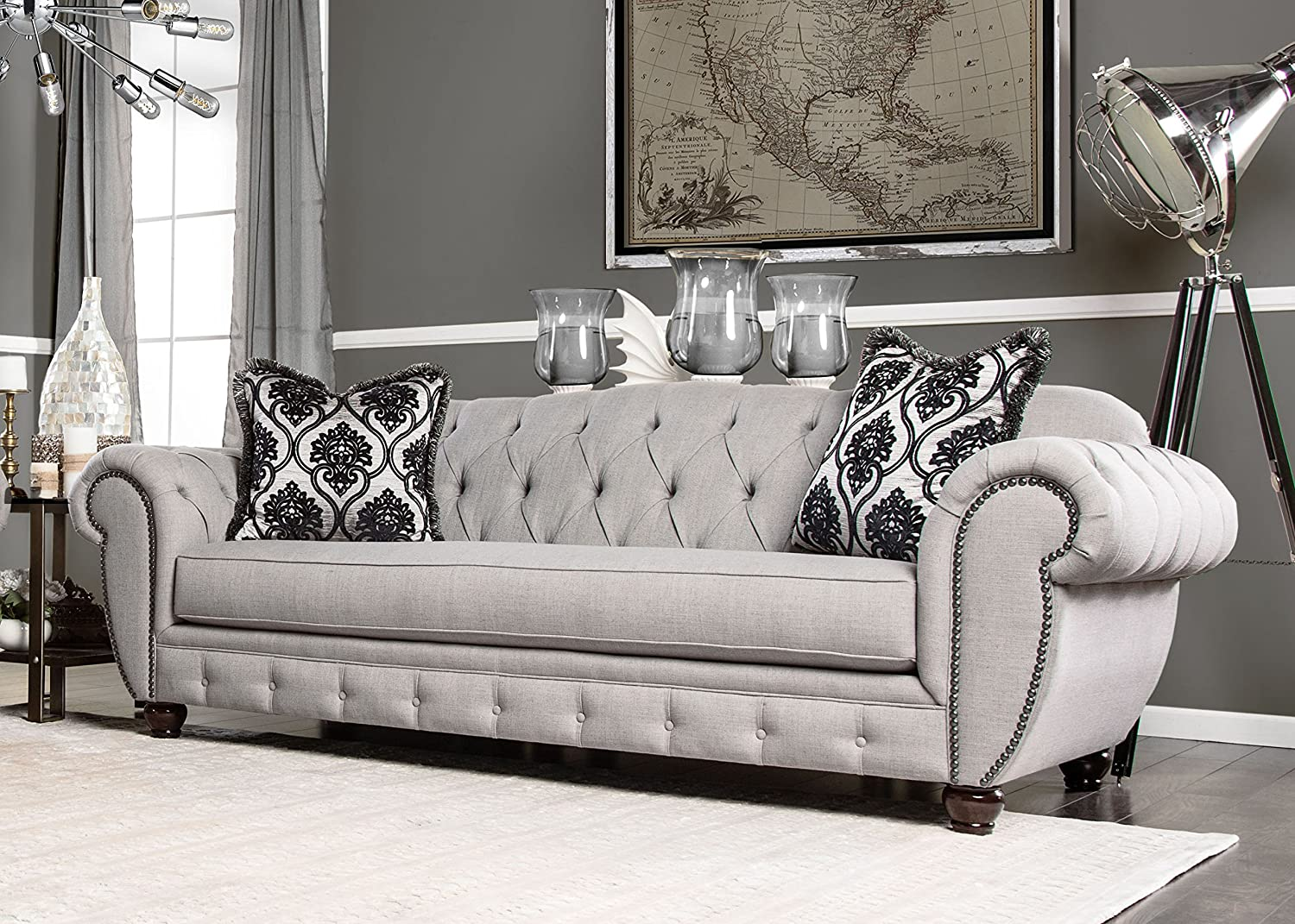 Furniture of America Bowie Modern Victorian Tufted Sofa, Gray
