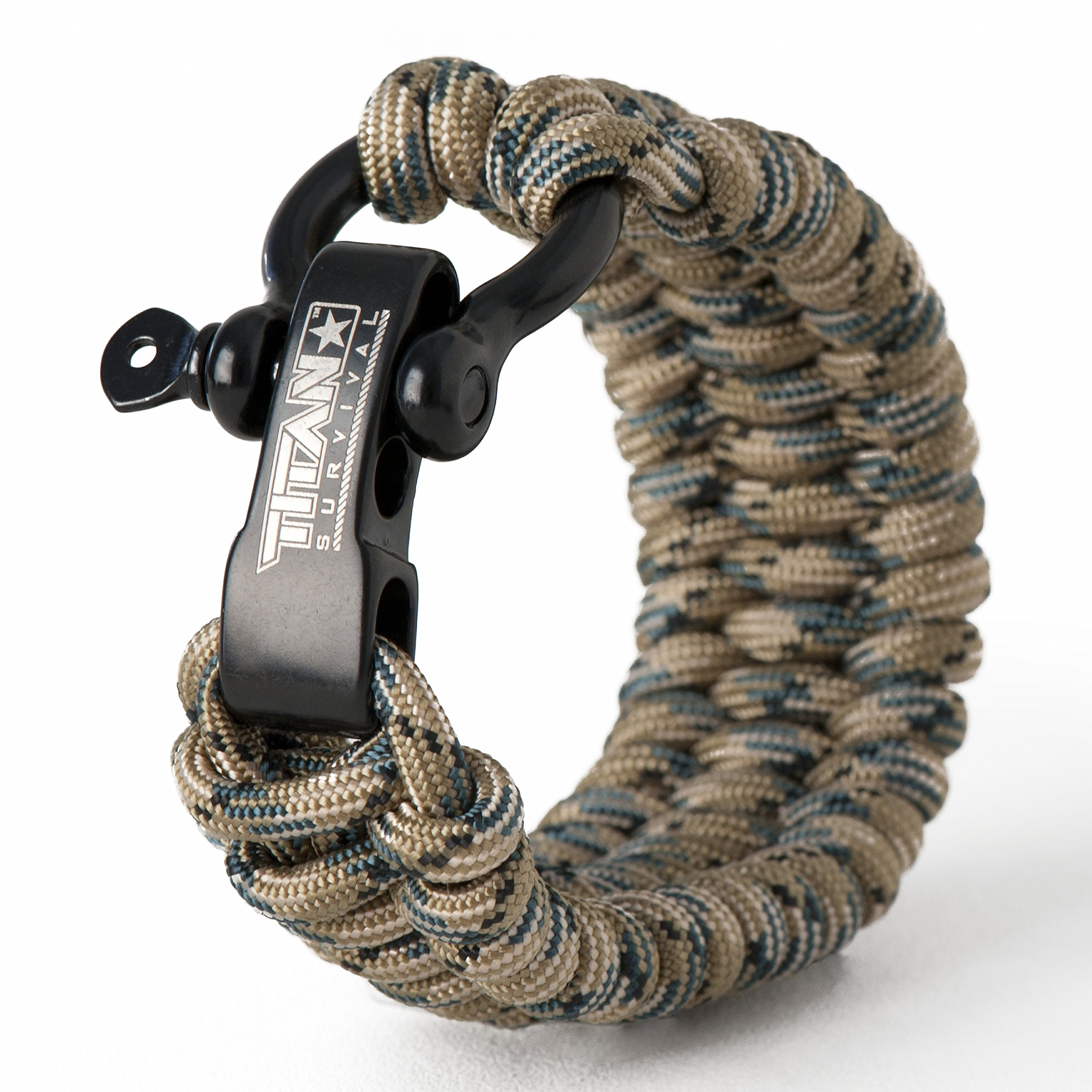 Titan Paracord Survival Bracelet | Forest CAMO | Medium (Fits 7'' - 8'' Wrist) | Made with Authentic Patented SurvivorCord (550 Paracord, Fishing line, Snare Wire, and Waxed Jute for Fires).