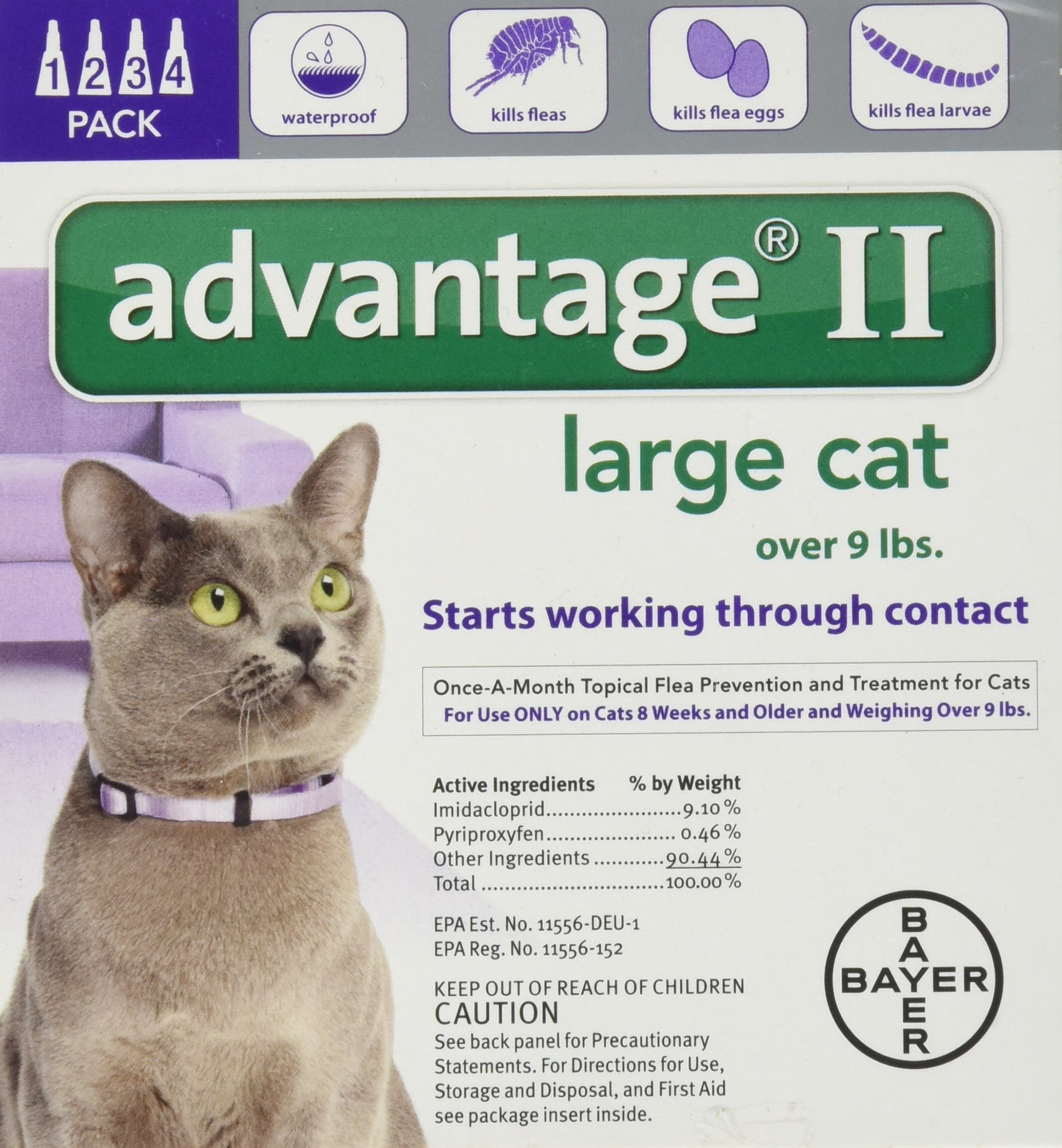 Bayer Animal Health Advantage II Monthly Flea Treatment - Large Cat - 4 ct