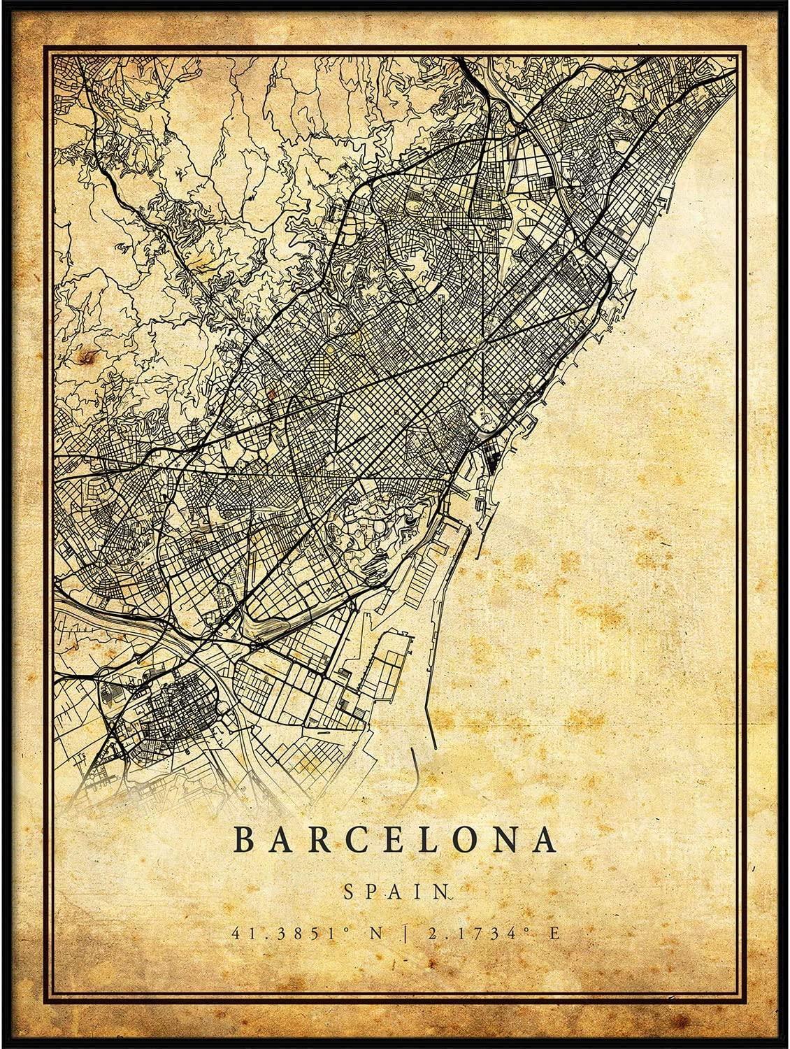 Barcelona map Vintage Style Poster Print   Old City Artwork Prints   Antique Style Home Decor   Spain Wall Art Gift   Antique map Wall Art 8.5x11