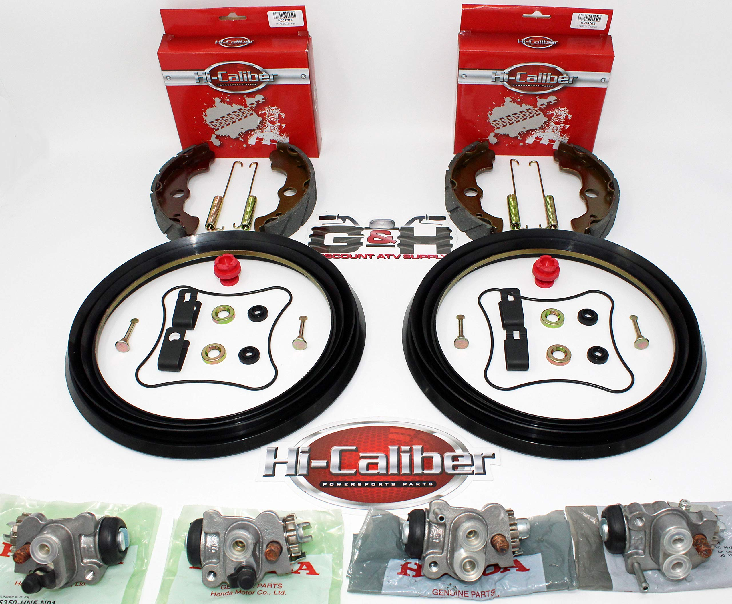 Complete FRONT Brake Rebuild KIT (Includes Shoes, Wheel Cylinders, Hardware) for 2004-2006 Honda 350 Rancher by Hi-Caliber Powersports Parts, OEH, Armor Tech (Image #1)