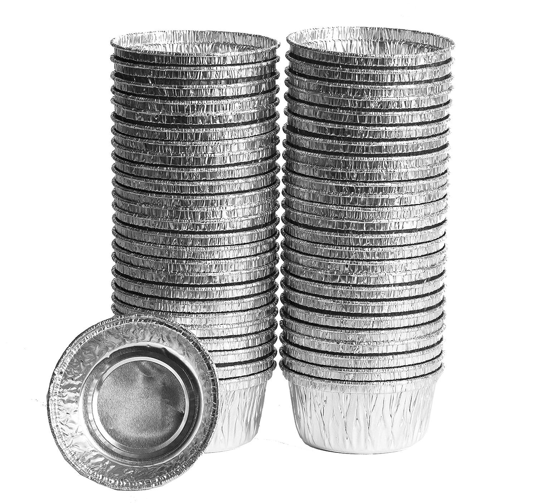 eHomeA2Z Aluminum Disposable Foil Ramekins Au Jus Baking Cups 50 Pack (50, 4 Oz)