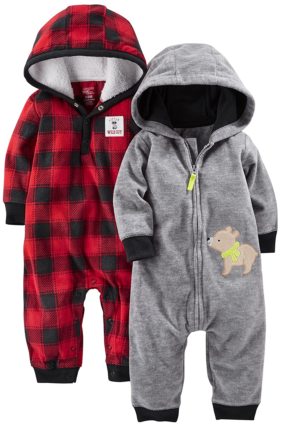 Simple Joys by Carter's Baby-Boys Baby 2-Pack Fleece Hooded Jumpsuits A21G035