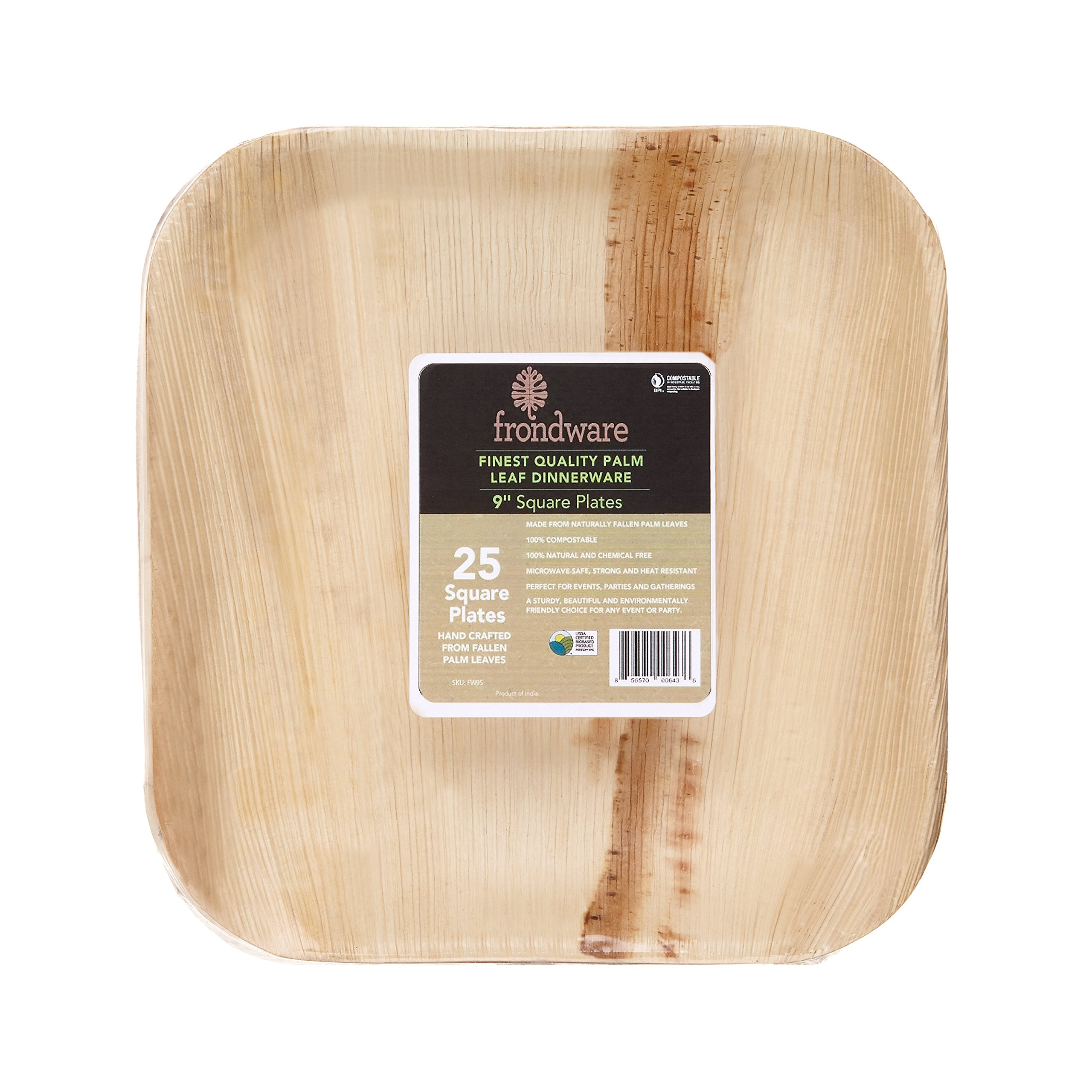 Frondware 9'' Palm Leaf Square Disposable Plates - Pack of 25 - Compostable - 100% Natural - Chemical Free - USDA Certified Biobased Product