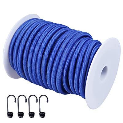 """CARTMAN 1/4"""" Elastic Cord Crafting Stretch String, 40kg x 50ft, with 4 More Hooks, Blue Color"""