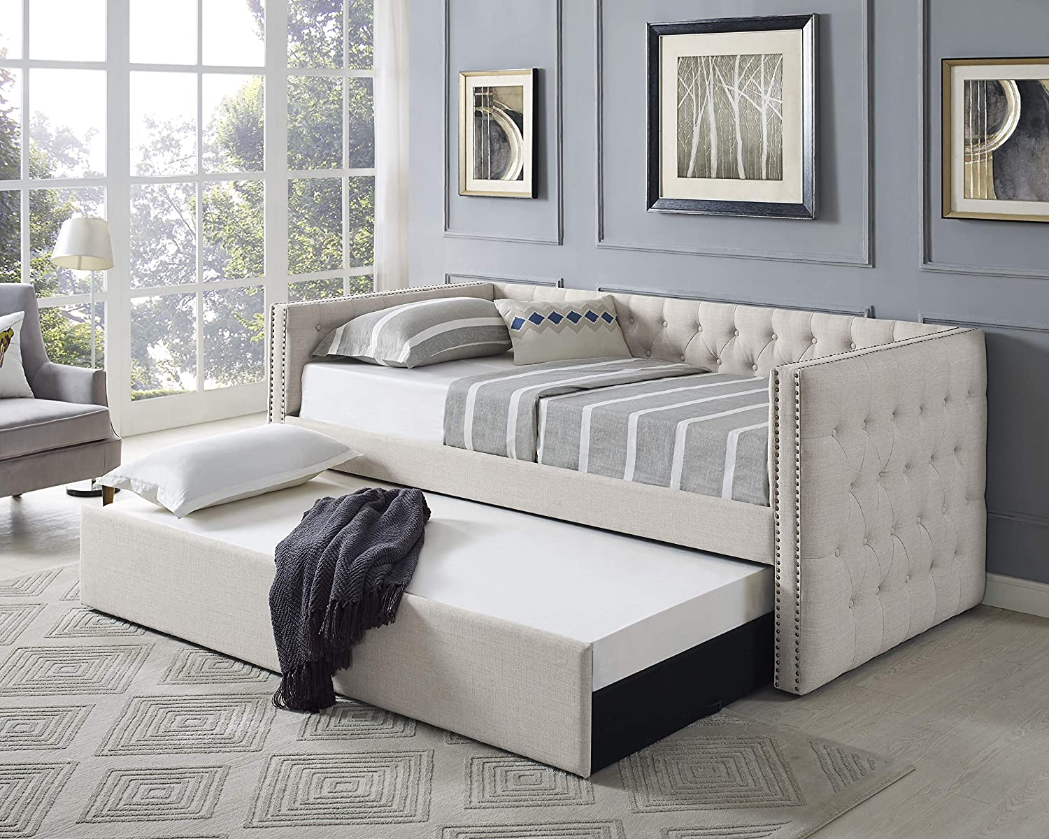 Amazon Com Best Master Furniture Laura Tufted Daybed Trundle