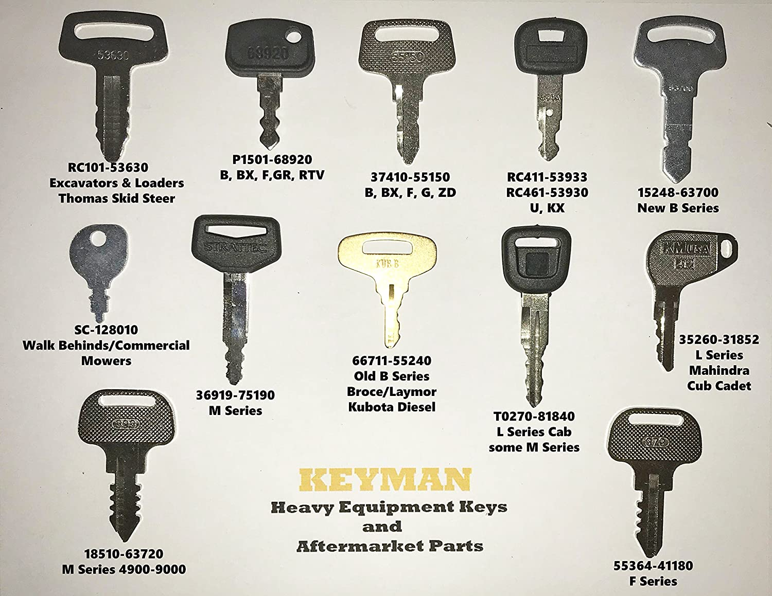 Keyman Kubota Heavy Equipment Key Set/12 Keys Set/Construction and Tractor Ignition Key Set/8 different keys