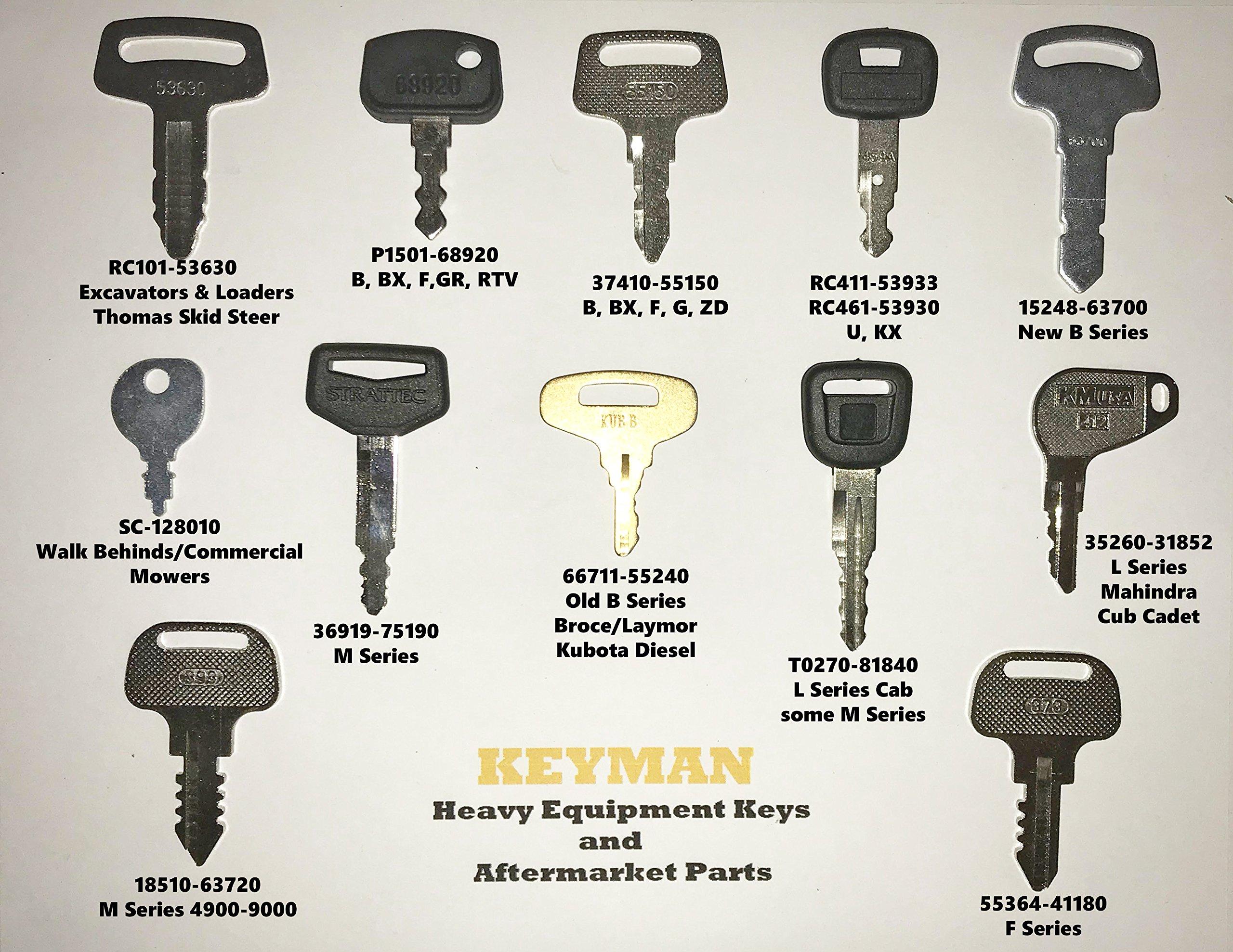 Kubota Heavy Equipment, Construction and Tractor Ignition 12 Key Set by KEYMAN