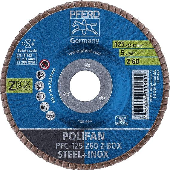 PFERD POLIFAN Fächerschleifscheibe PFR 125mm Z 40 SGP-Curve L Stahl//INOX