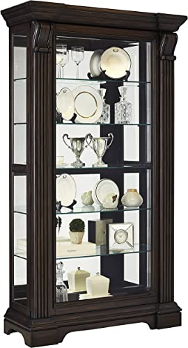 Pulaski Caldwell Traditional Sliding Front Door Curio Display Cabinet, 47 x 18 x 83 , Acacia Brown