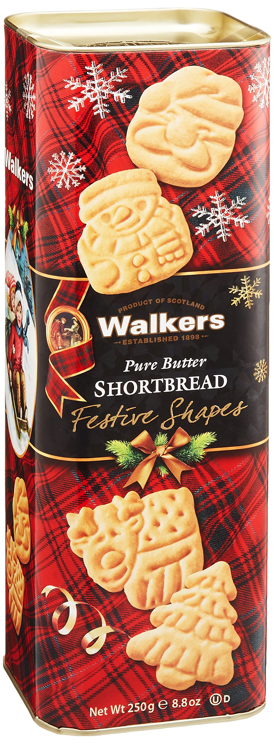 Walkers Shortbread Festive Drums Pure Butter, 8.8 Ounce