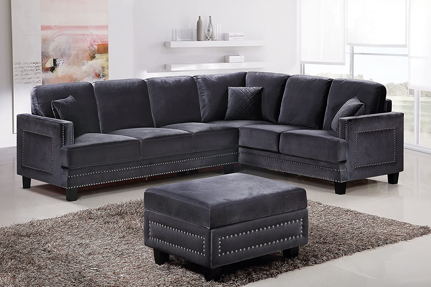 Amazon Com Meridian Furniture 655gry Sectional Ferrara Velvet