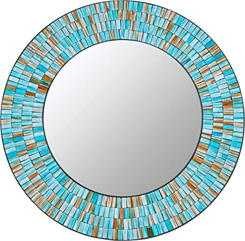 Zorigs, Handcrafted Glass Mosaic Decorative Wall Mirror, 24 Round Wall Mirror Sea Blue, Turquoise, and Opal Glass Pieces D cor