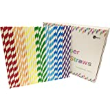 Straws Paper 175Pcs with Recycable Packaging Drinking Straws Decorations for Party Birthday Wedding Baby Shower Valentine in 7 Multi-Color Rainbow