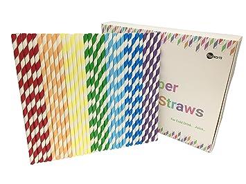 Pajitas de papel 175 piezas con embalaje reciclado pajitas decoraciones para fiesta, cumpleaños, boda