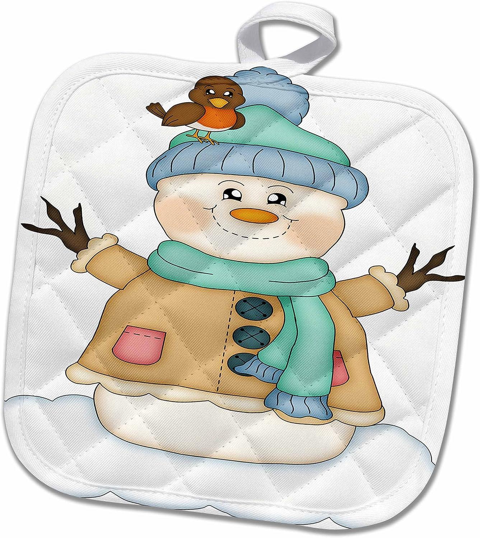 3D Rose Cute Happy Snowman Illustration Pot Holder 8 x 8