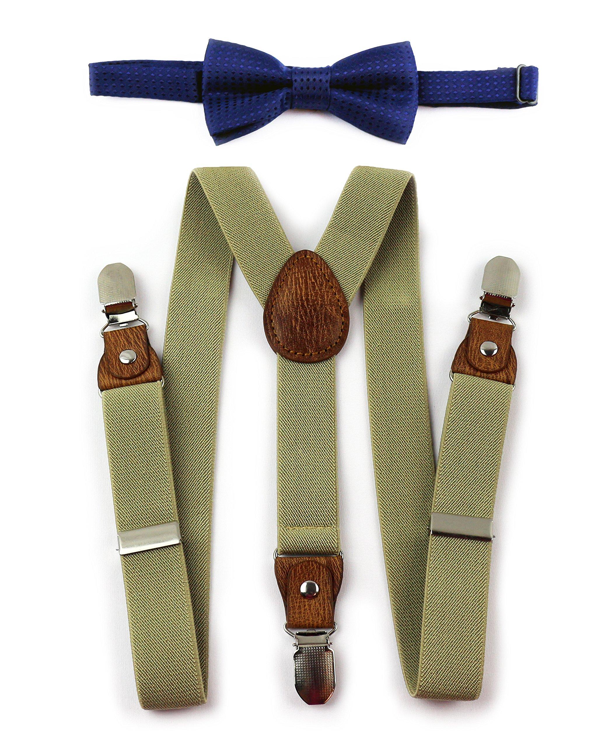 Kids Suspenders Bow Tie (Tan Khaki Suspenders and Navy Blue Bow)
