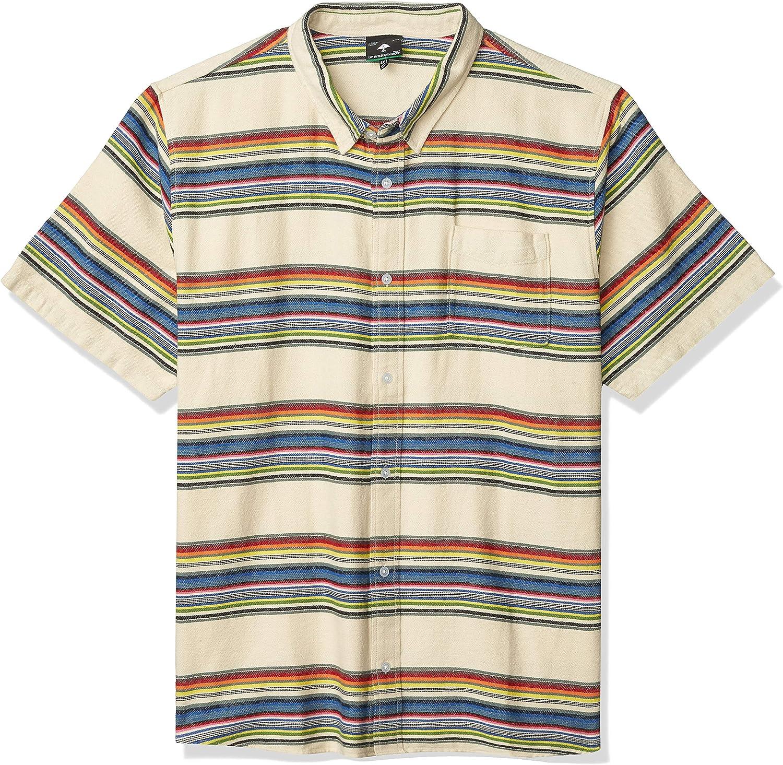 LRG Men's Button Down Woven Collared Short Sleeve Shirt