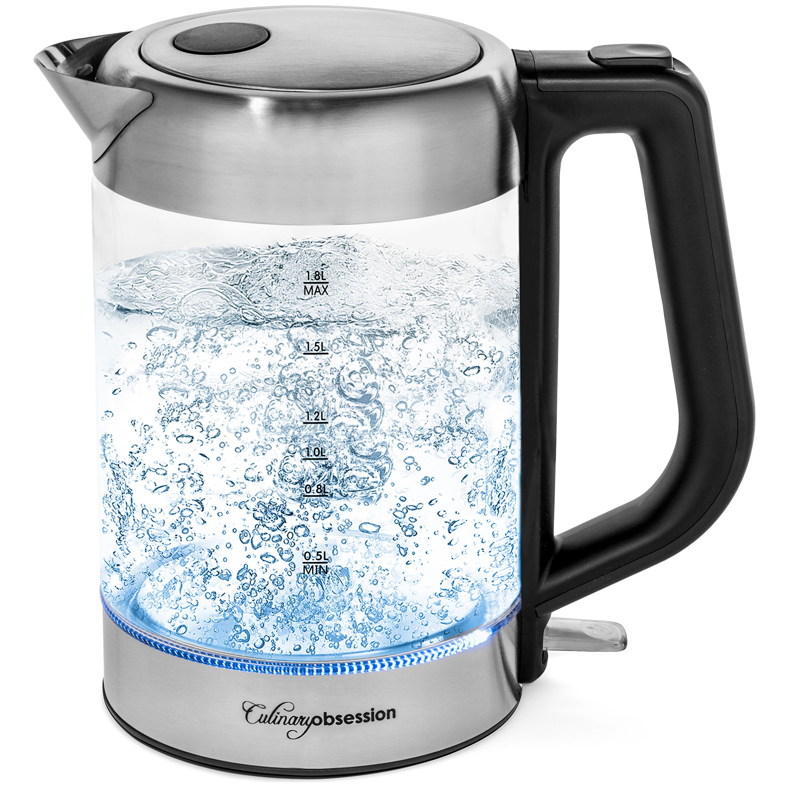 Glass Electric Kettle | BPA Free with Borosilicate Glass & Stainless Steel - 1.8 Liter Rapid Boil Cordless Teapot with Automatic Shut Off - the Best Hot Water Heater for Tea, Coffee, Soup, and More! by Culinary Obsession
