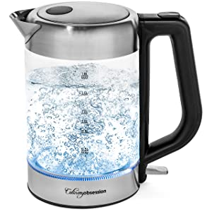 Electric Kettle   BPA Free with Borosilicate Glass & Stainless Steel - 1.8 Liter Rapid Boil Cordless Teapot with Automatic Shut Off - the Best Hot Water Heater for Tea, Coffee, Soup, and More!