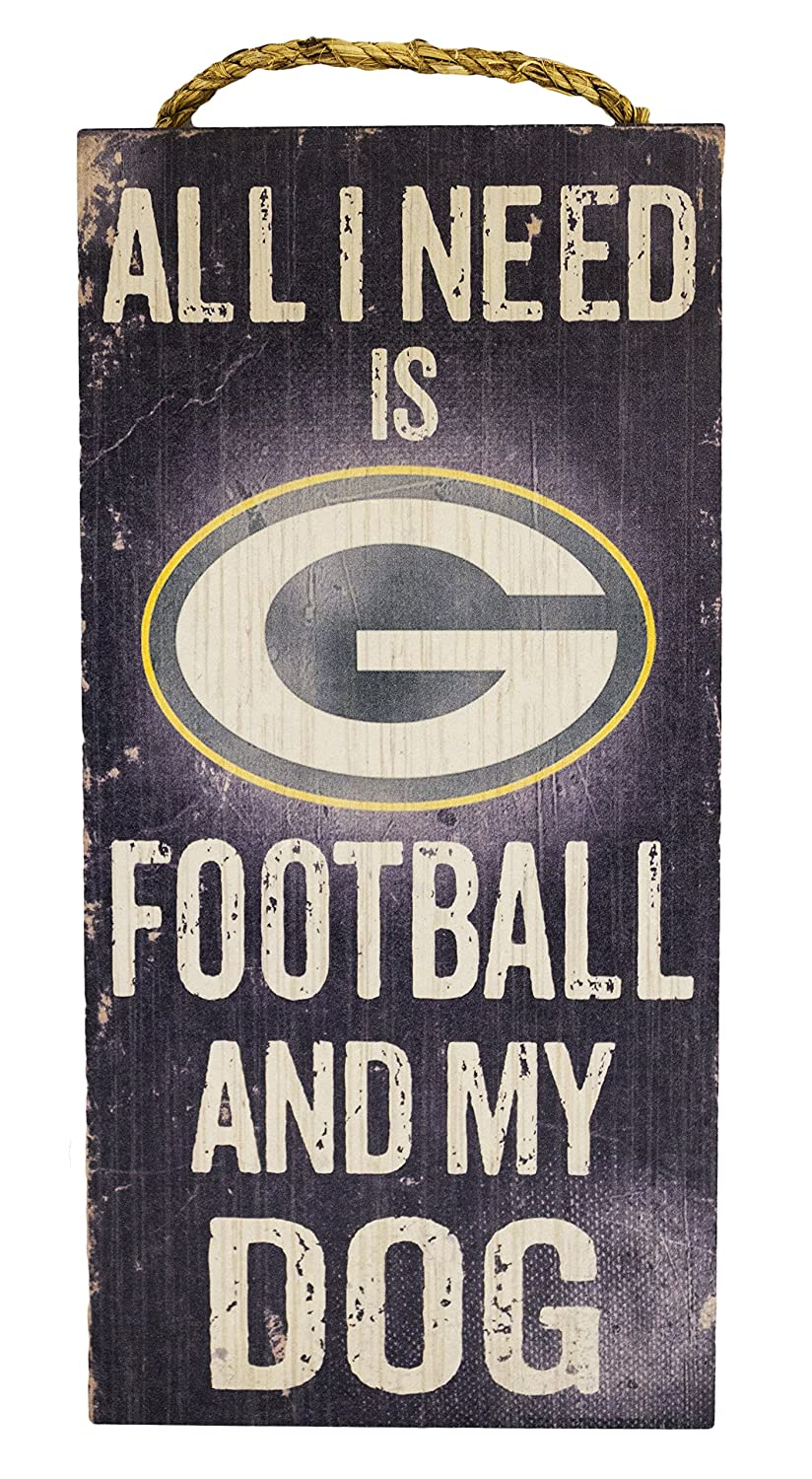 Green Bay Packers 6 x 12 All I Need is Football and My Dog Wood Sign