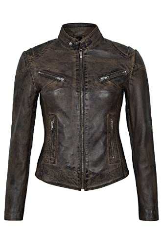 SPEED Ladies Dirty Brown Vintage Retro Biker Style Chaqueta de cuero de piel de cordero real