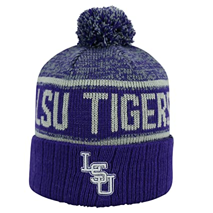 sale retailer 13229 b94bb Image Unavailable. Image not available for. Color  Top of the World LSU  Tigers Official NCAA Cuffed Knit Acid Rain Beanie Stocking Stretch Sock
