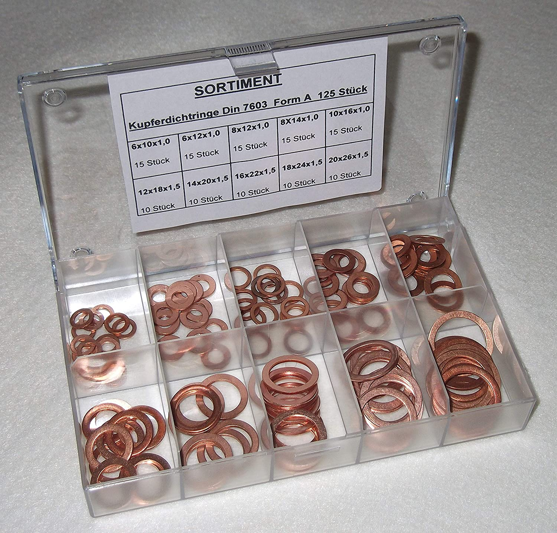 Kupferringe//Dichtringe Dichtscheiben Sortiment DIN 7603 125 TEILIG