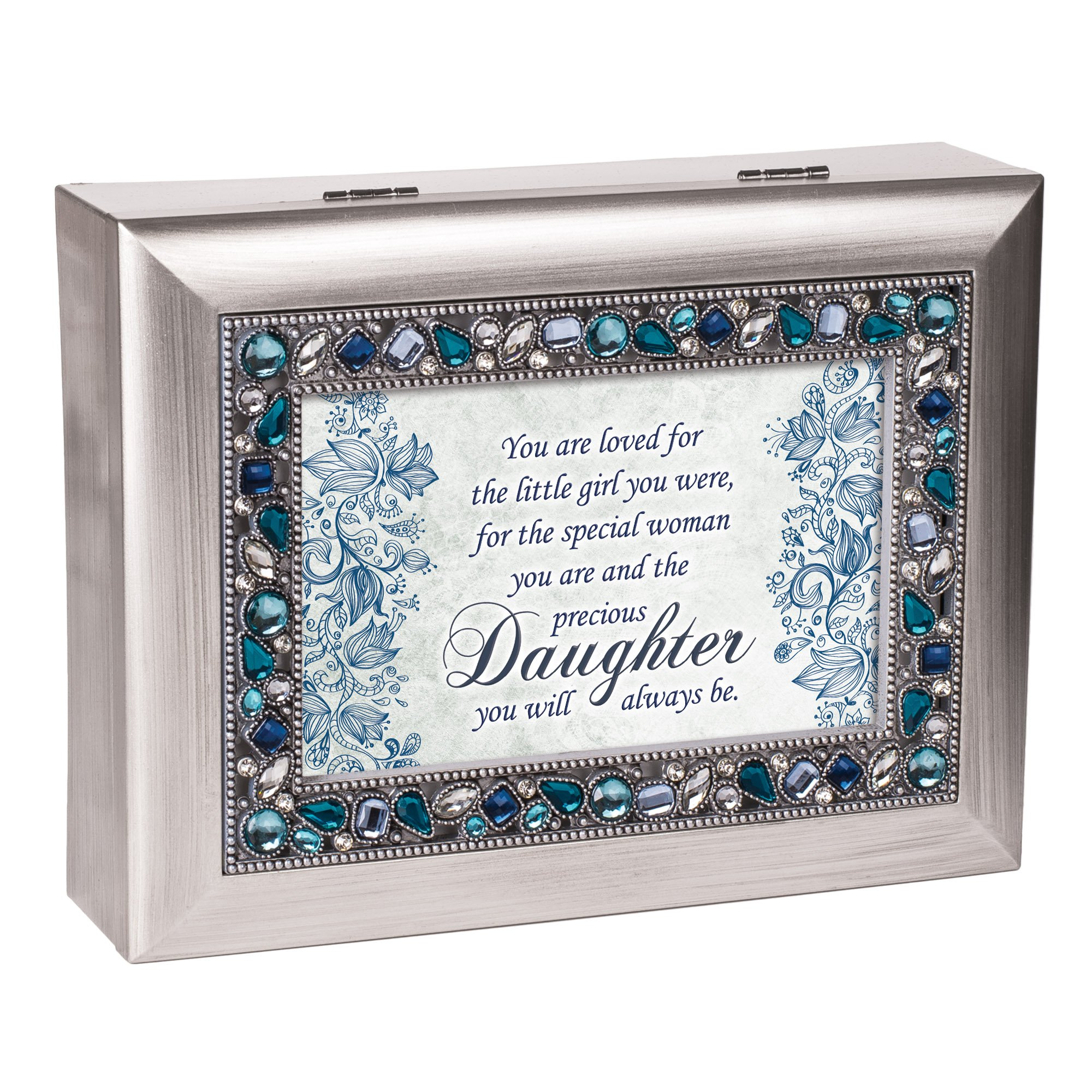 Special Woman Precious Daughter Jeweled Silver Colored Keepsake Music Box Plays You Light Up My Life by Cottage Garden (Image #3)