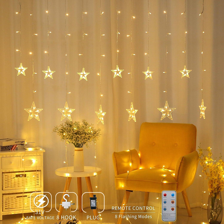 Amazon Areskey Star Christmas Light 138 LED 12 Stars Curtain