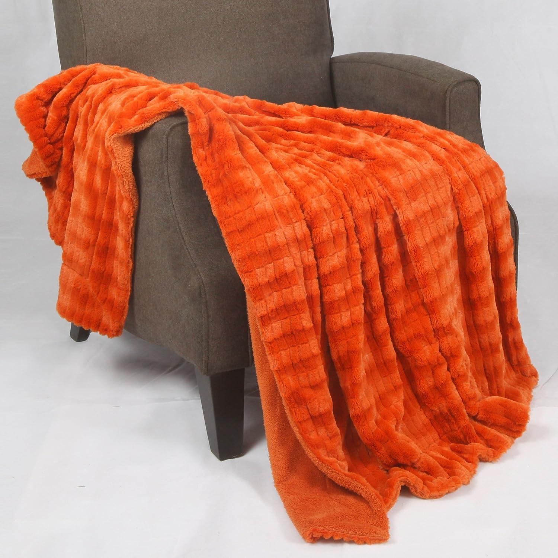 BOON Garret Faux Fur Throw Blanket, 50 x 60, Ashley Blue 50 x 60 BNF Home BNFTHR5060GFFAB