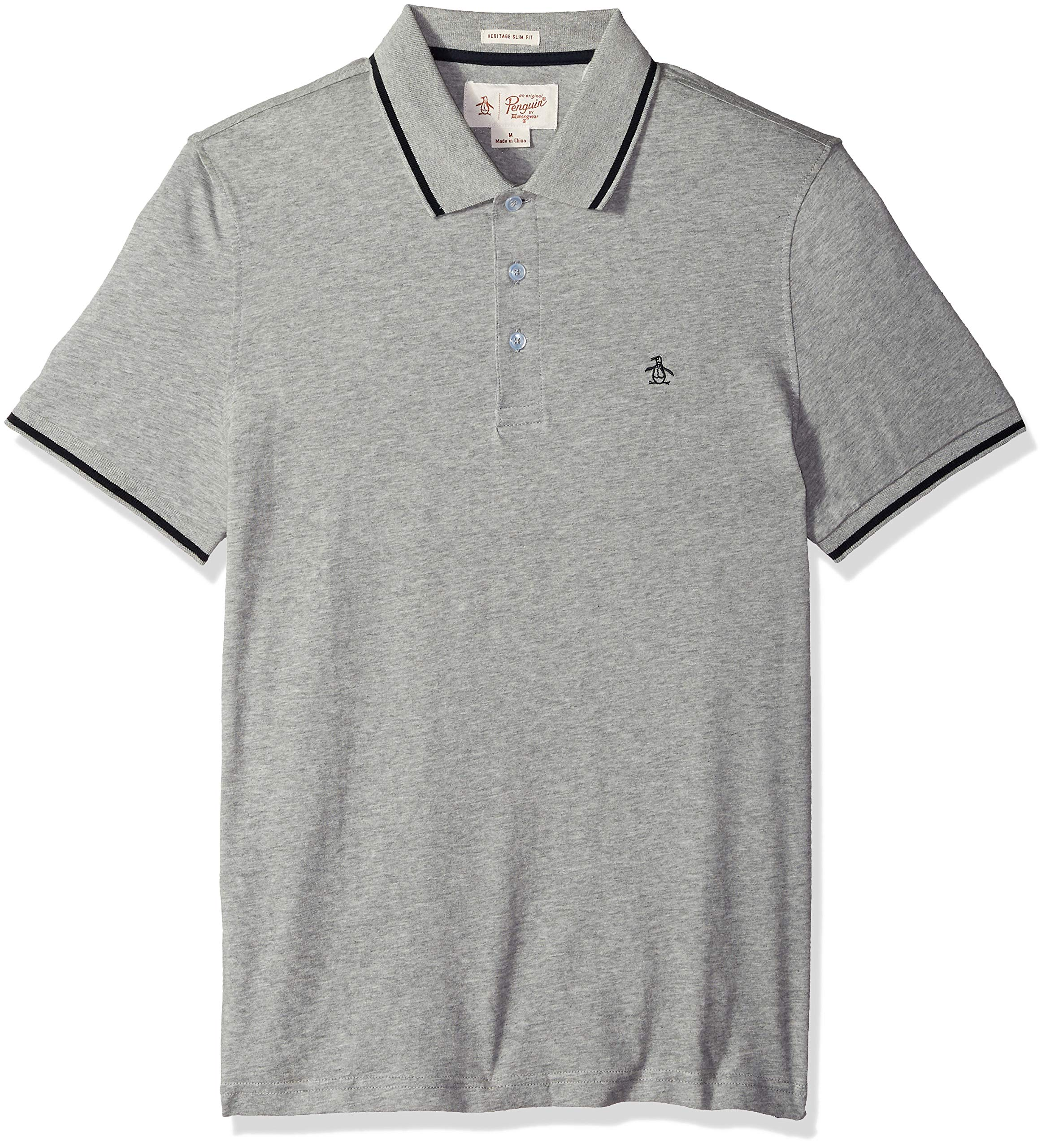 Original Penguin Men's Polo with Contrast Tipping, rain Heather, Extra Large