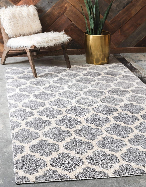 Unique Loom Trellis Collection Moroccan Lattice Dark Gray Area Rug (4' 0 x 6' 0)