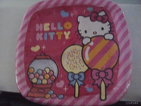 Hello Kitty Sweet bolsillo platos de postre, 8 hilos