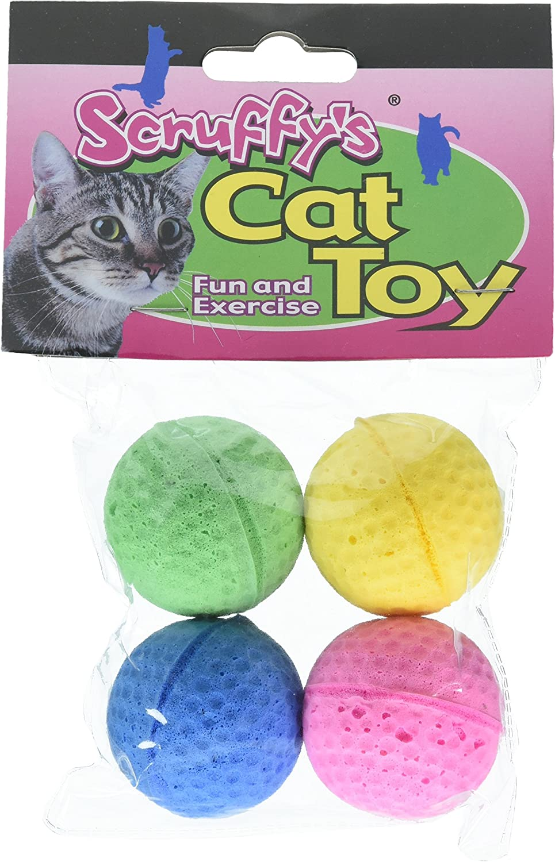 Boss Pet 04467 Scruff's Colorful Kitty Springy Foam Sponge Balls (4 Pack), Multicolor : Pet Toy Balls : Pet Supplies