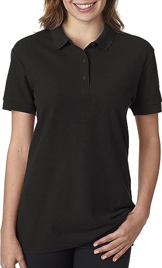 68cb9410 Gildan - Ladies Premium Cotton Double Pique Polo Shirt - 82800L-Black-S