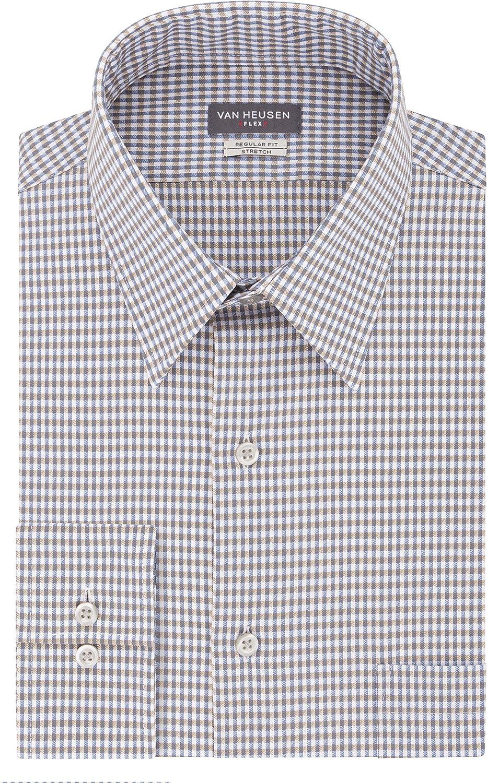 Light Blue//Check Van Heusen Mens Regular Flex Collar Long Sleeve Dress Shirt